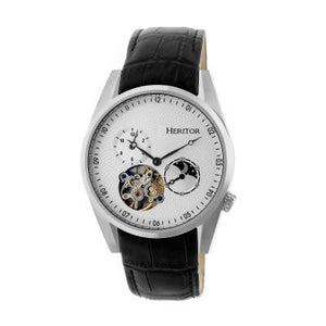 Heritor Automatic Alexander Semi-Skeleton Leather-Band Watch
