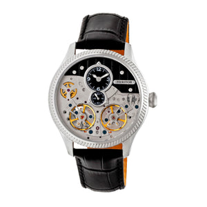 Heritor Automatic Winthrop Leather-Band Skeleton Watch - Silver/Black - HERHR7302