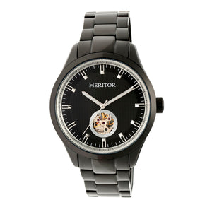 Heritor Automatic Crew Semi-Skeleton Bracelet Watch - Black - HERHR7003