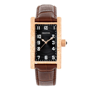 Heritor Automatic Jefferson Leather-Band Watch - Rose Gold/Black - HERHR8803