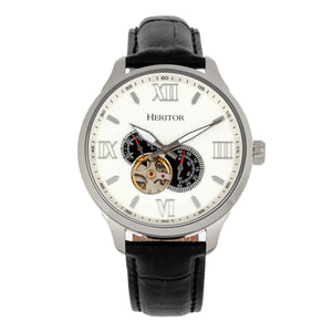 Heritor Automatic Harding Semi-Skeleton Leather-Band Watch - Silver/White - HERHR9001