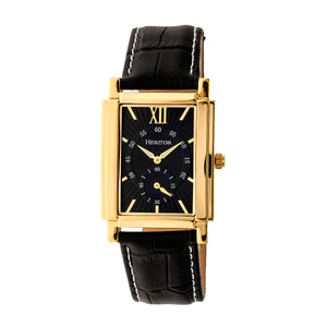 Heritor Automatic Frederick Leather-Band Watch - Gold/Black - HERHR6103