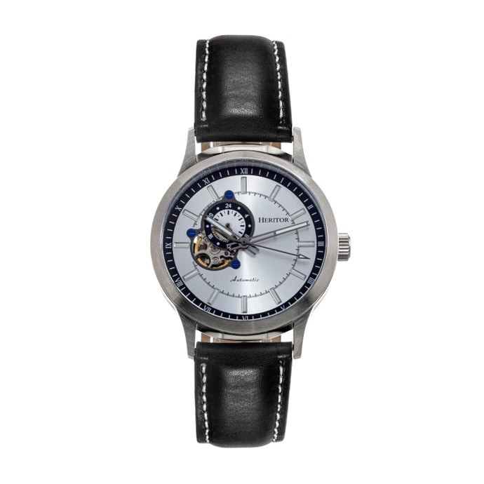 Heritor Automatic Oscar Semi-Skeleton Leather-Band Watch - HERHS1002