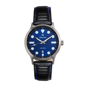Heritor Automatic Bradford Leather-Band Watch w/Date - Blue & Black - HERHS1104