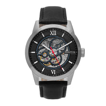 Load image into Gallery viewer, Heritor Automatic Jonas Leather-Band Skeleton Watch - Silver/Black - HERHR9501