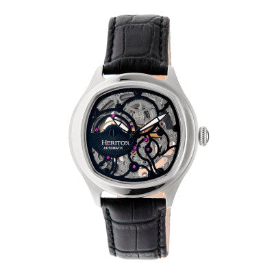 Heritor Automatic Odysseus Leather-Band Skeleton Watch - HERHR3704