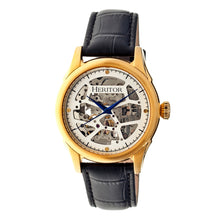 Load image into Gallery viewer, Heritor Automatic Nicollier Skeleton Leather-Band Watch - Gold/Black - HERHR1903