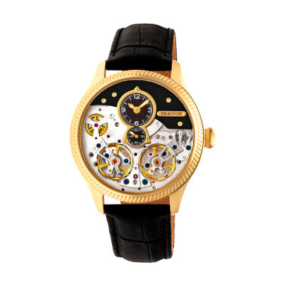 Heritor Automatic Winthrop Leather-Band Skeleton Watch - HERHR7304