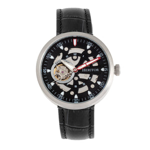 Heritor Automatic Jasper Skeleton Leather-Band Watch - Silver/Black - HERHR8704