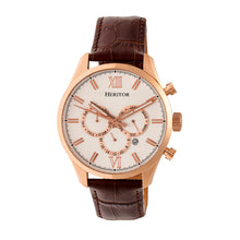 Load image into Gallery viewer, Heritor Automatic Benedict Leather-Band Watch w/ Day/Date - Rose Gold/Silver - HERHR6804