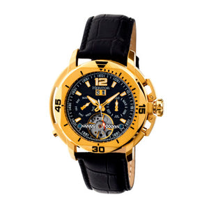 Heritor Automatic Lennon Semi-Skeleton Leather-Band Watch