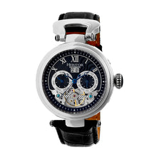 Load image into Gallery viewer, Heritor Automatic Ganzi Semi-Skeleton Leather-Band Watch - Silver/Black - HERHR3302