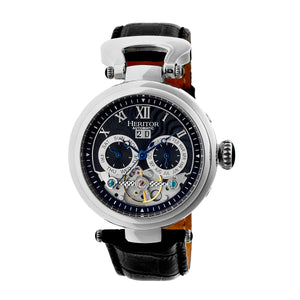 Heritor Automatic Ganzi Semi-Skeleton Leather-Band Watch - Silver/Black - HERHR3302