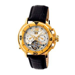 Heritor Automatic Lennon Semi-Skeleton Leather-Band Watch - Gold/Silver - HERHR2803