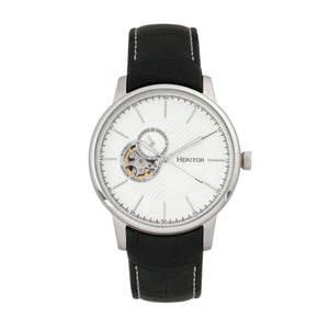 Heritor Automatic Landon Semi-Skeleton Leather-Band Watch - Silver - HERHR7701