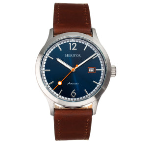 Heritor Automatic Becker Leather-Band Watch w/Date - Silver/Navy - HERHR9605