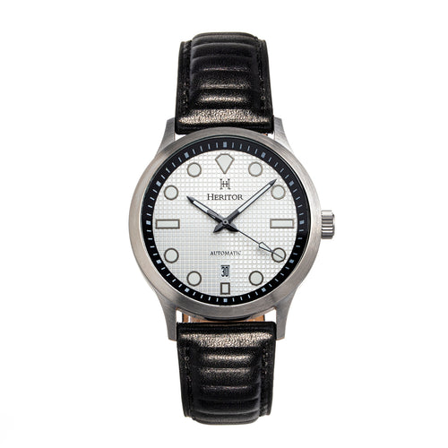 Heritor Automatic Bradford Leather-Band Watch w/Date - Silver & Black - HERHS1101