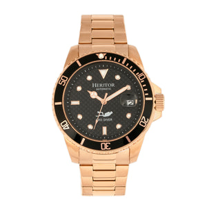 Heritor Automatic Lucius Bracelet Watch w/Date - Rose Gold/Black - HERHR7805