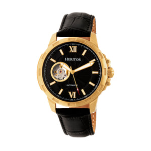 Heritor Automatic Bonavento Semi-Skeleton Leather-Band Watch - Gold/Black - HERHR5604