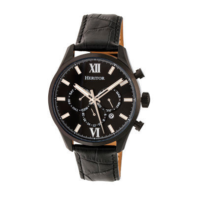 Heritor Automatic Benedict Leather-Band Watch w/Day/Date