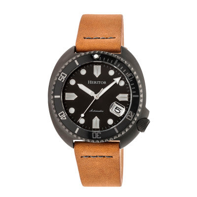 Heritor Automatic Morrison Leather-Band Watch w/Date - HERHR7608