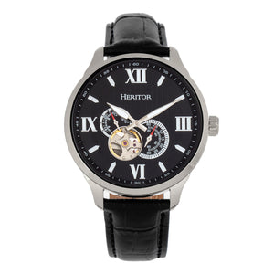 Heritor Automatic Harding Semi-Skeleton Leather-Band Watch - Silver/Black - HERHR9002
