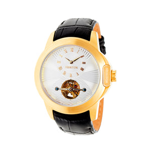 Heritor Automatic Windsor Semi-Skeleton Leather-Band Watch - Gold/Silver - HERHR4203