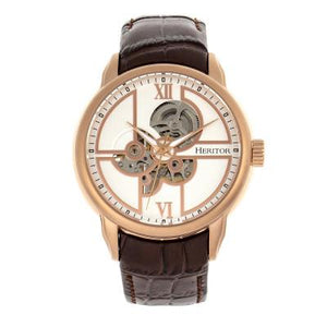 Heritor Automatic Sanford Semi-Skeleton Leather-Band Watch