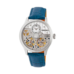 Heritor Automatic Winthrop Leather-Band Skeleton Watch - Silver/Blue - HERHR7303