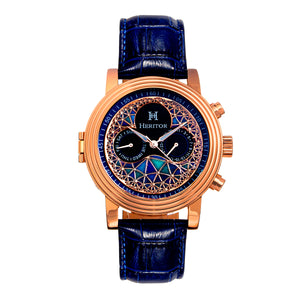 Heritor Automatic Legacy Leather-Band Watcch w/Day/Date - Rose Gold/Blue - HERHR9705