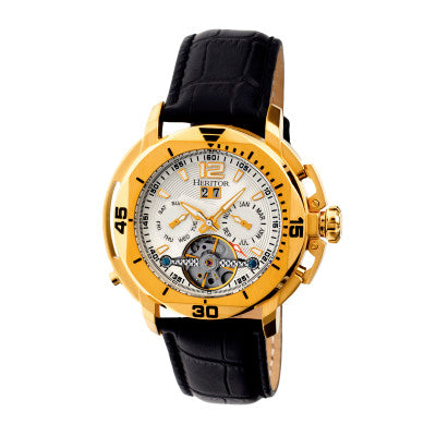 Heritor Automatic Lennon Semi-Skeleton Leather-Band Watch - HERHR2803