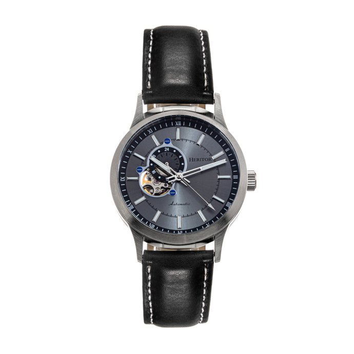 Heritor Automatic Oscar Semi-Skeleton Leather-Band Watch - HERHS1003