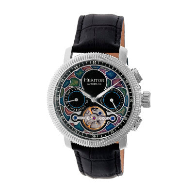 Heritor Automatic Aura Men's Semi-Skeleton Leather-Band Watch - HERHR3501