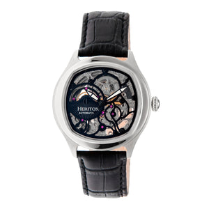 Heritor Automatic Odysseus Leather-Band Skeleton Watch - Silver/Black - HERHR3704
