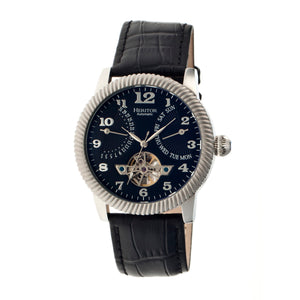 Heritor Automatic Piccard Semi-Skeleton Leather-Band Watch - Silver/Black - HERHR2002