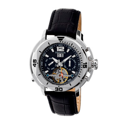 Heritor Automatic Lennon Semi-Skeleton Leather-Band Watch - HERHR2802