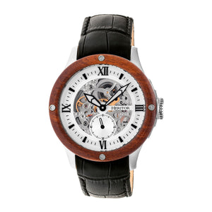 Heritor Automatic Belmont Skeleton Leather-Band Watch - Silver - HERHR3901
