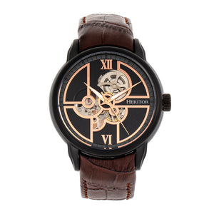 Heritor Automatic Sanford Semi-Skeleton Leather-Band Watch - Black/Brown - HERHR8306