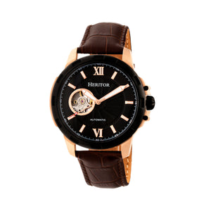 Heritor Automatic Bonavento Semi-Skeleton Leather-Band Watch - Rose Gold/Black - HERHR5605