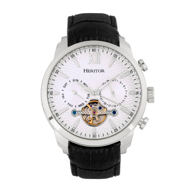 Heritor Automatic Arthur Semi-Skeleton Leather-Band Watch w/ Day/Date - HERHR7901