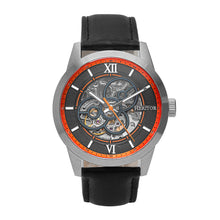 Load image into Gallery viewer, Heritor Automatic Jonas Leather-Band Skeleton Watch - Silver/Orange - HERHR9502