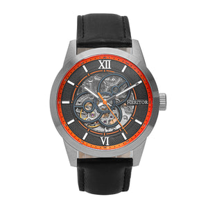 Heritor Automatic Jonas Leather-Band Skeleton Watch - Silver/Orange - HERHR9502