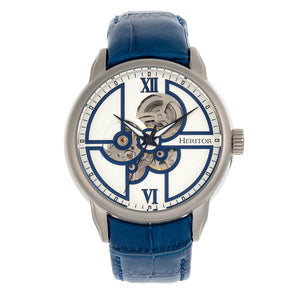 Heritor Automatic Sanford Semi-Skeleton Leather-Band Watch - Silver/Blue - HERHR8301