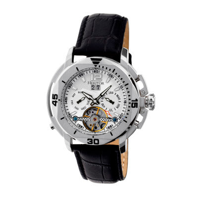 Heritor Automatic Lennon Semi-Skeleton Leather-Band Watch - HERHR2801