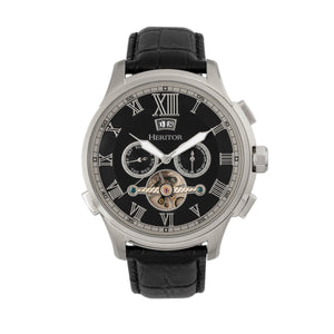 Heritor Automatic Hudson Semi-Skeleton Leather-Band Watch w/Day/Date - Black/Silver - HERHR7502