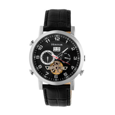 Heritor Automatic Edmond Leather-Band Watch w/Date - HERHR6202