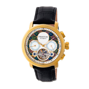 Heritor Automatic Aura Men's Semi-Skeleton Leather-Band Watch - Gold/White - HERHR3505