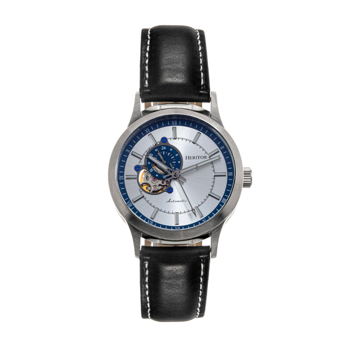 Heritor Automatic Oscar Semi-Skeleton Leather-Band Watch - HERHS1004