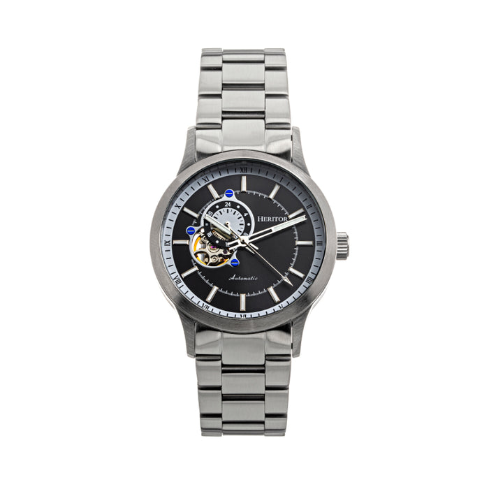 Heritor Automatic Oscar Semi-Skeleton Leather-Band Watch - HERHS1006