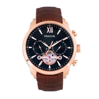 Heritor Automatic Arthur Semi-Skeleton Leather-Band Watch w/ Day/Date - HERHR7906